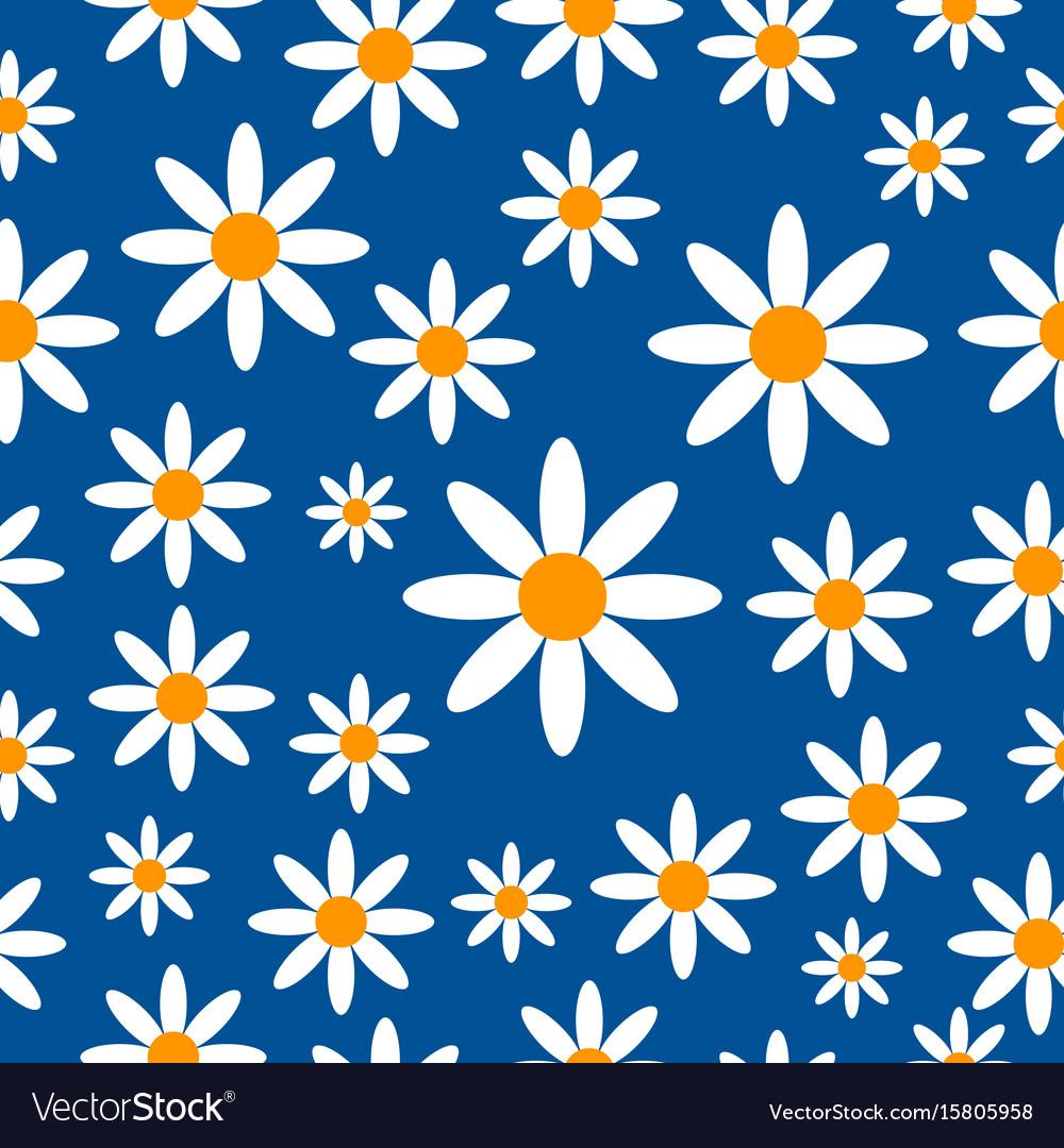 Chamomiles seamless pattern background