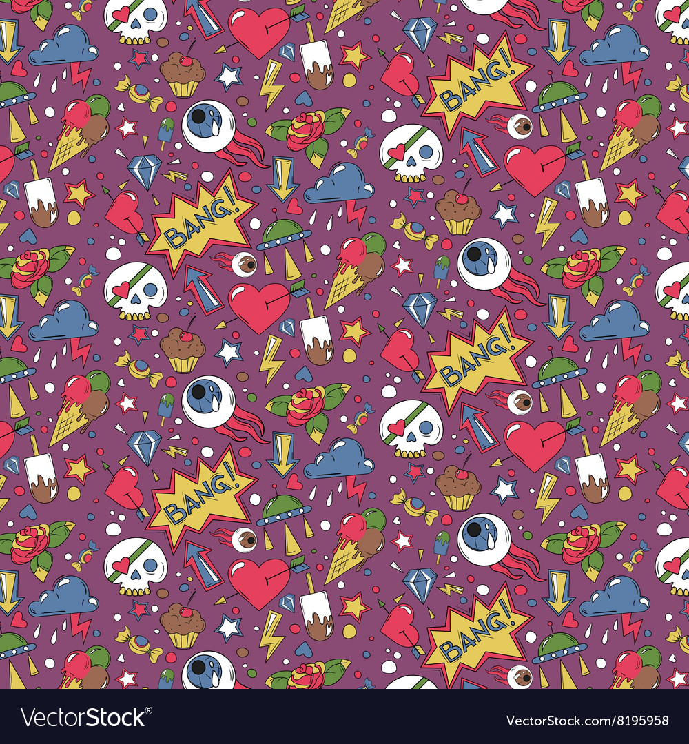 Doodle random objects colored pattern