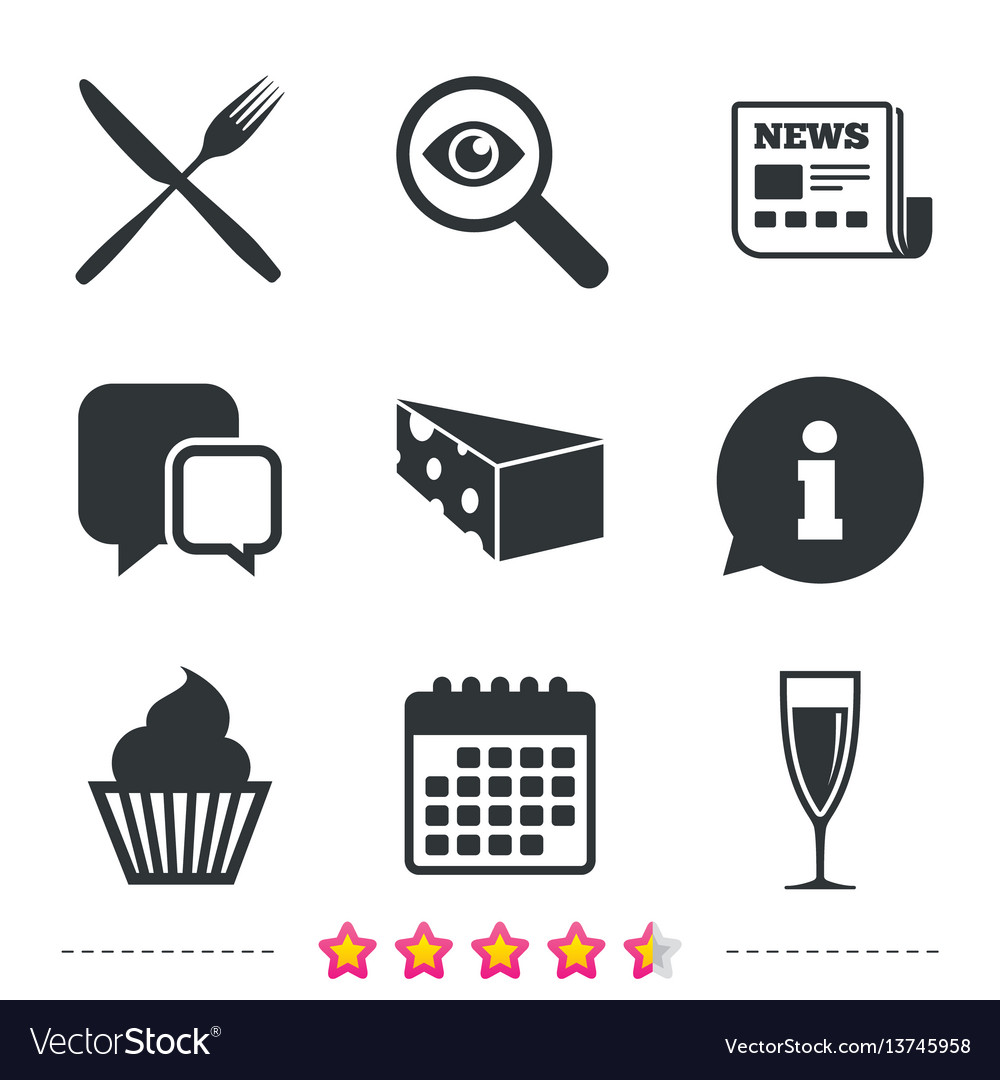 Food Icons Muffin Cupcake Symbol Fork Knife Vector Image On Vectorstock