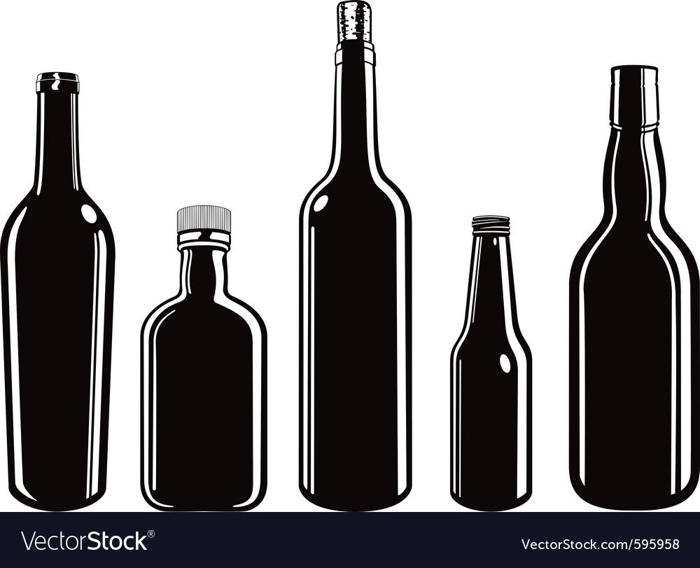Glass bottles vector image