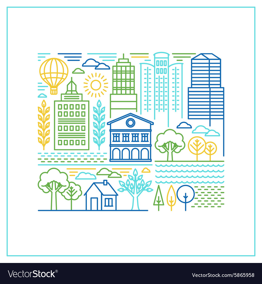 Linear city in trendy style vector image