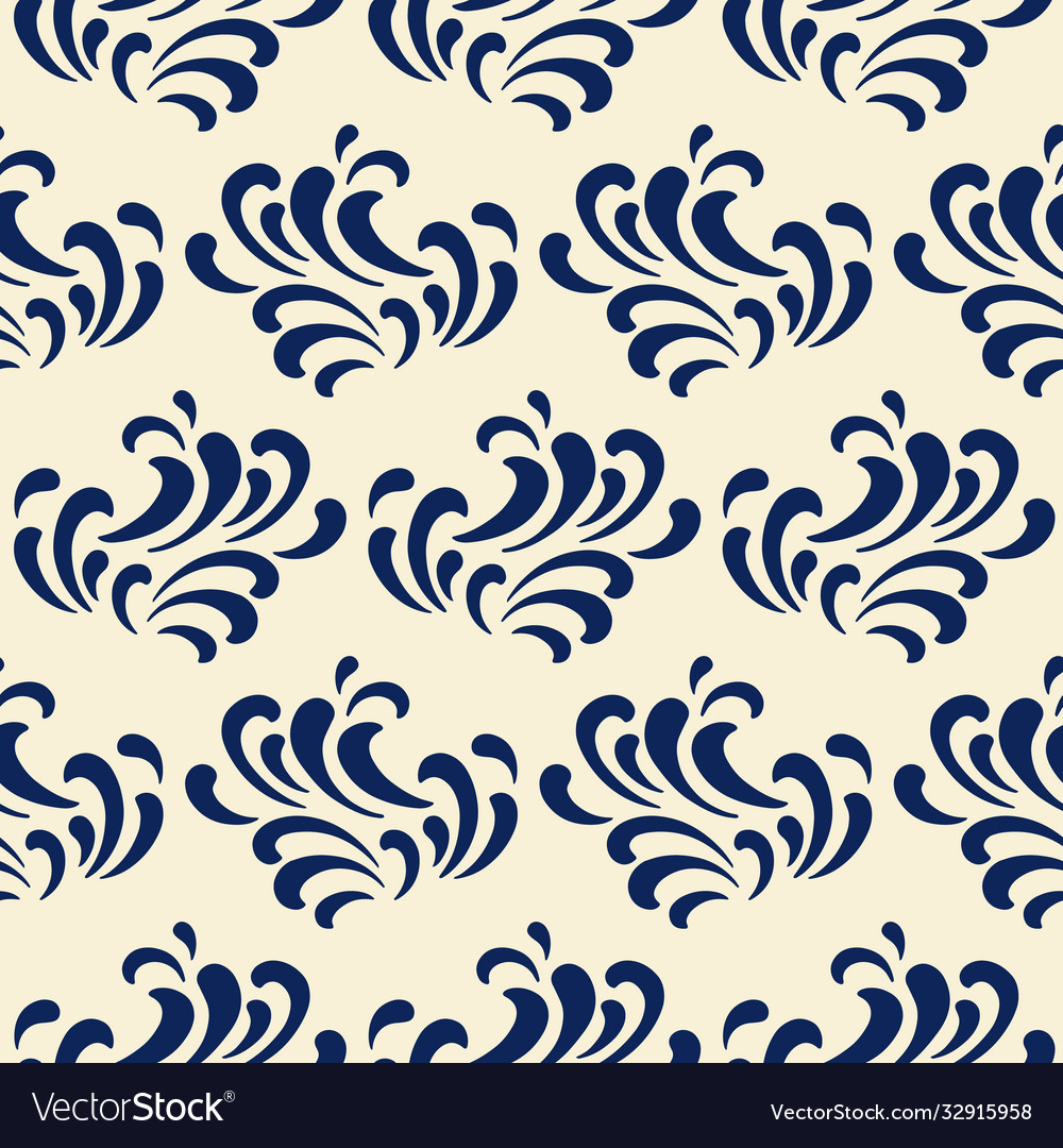 Ocean waves seamless pattern classic blue color