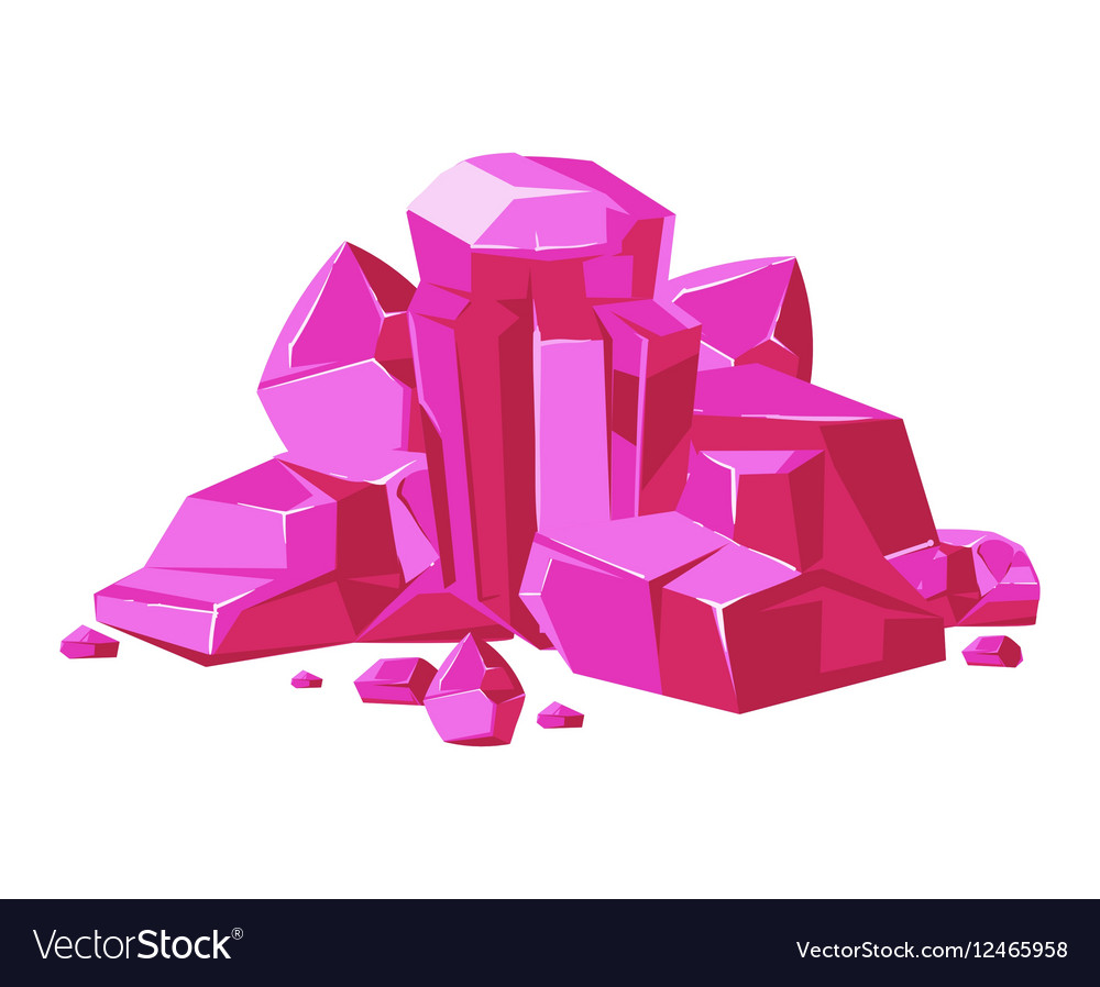 Pink crystals white background for mobile