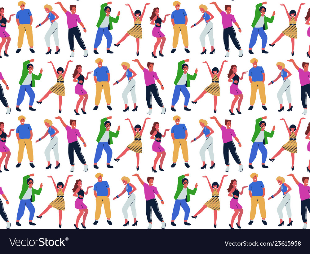 Seamless pattern with group of young dancing