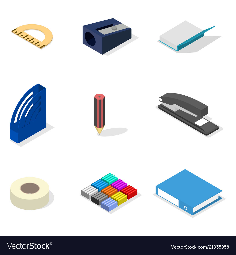 Set of icons office and school flat 3d isometric