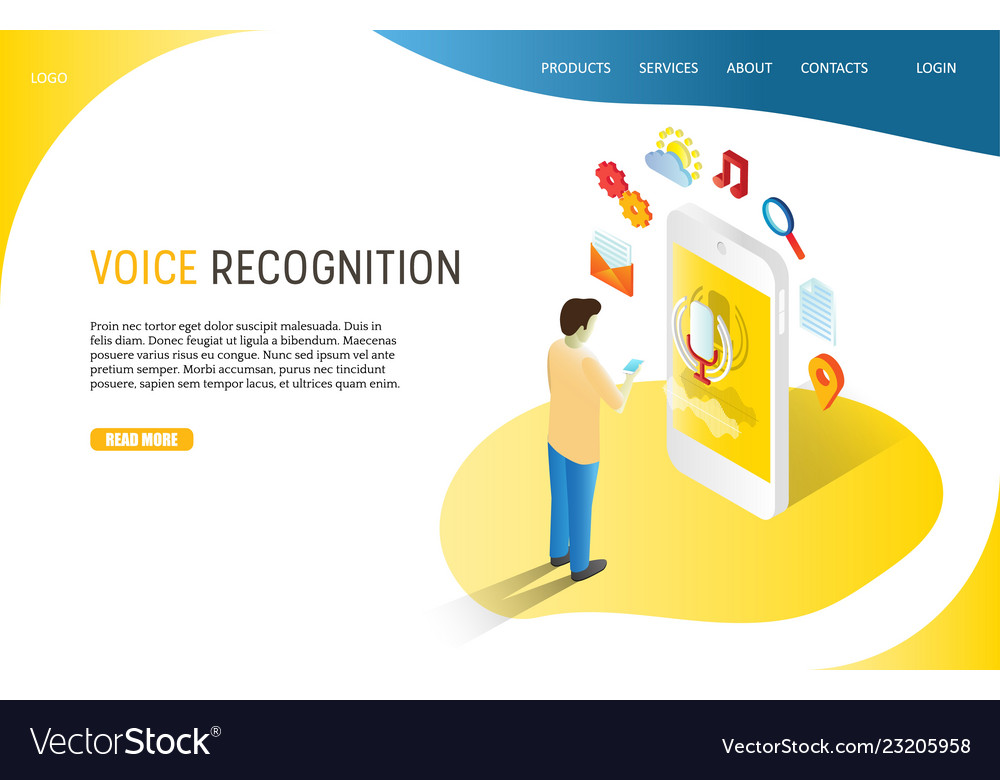 Voice recognition landing page website