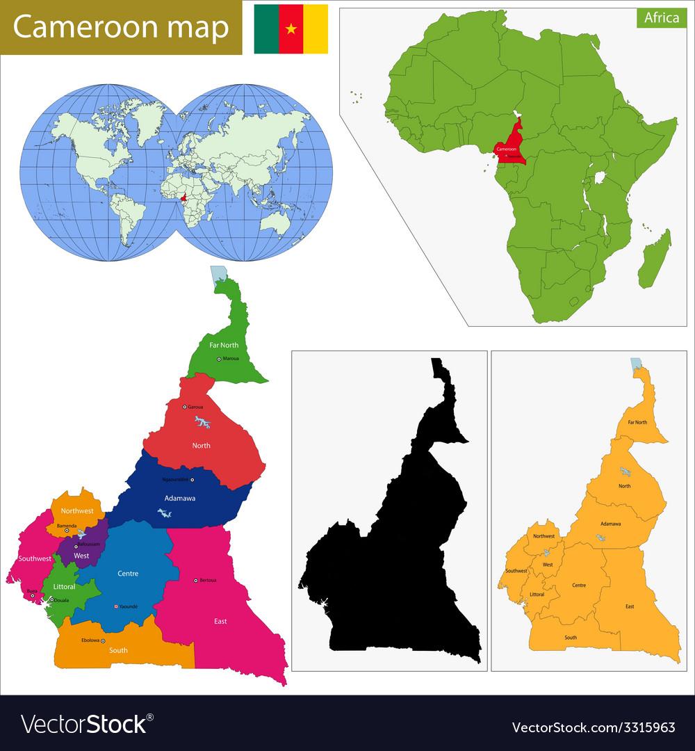 Cameroon map Royalty Free Vector Image - VectorStock