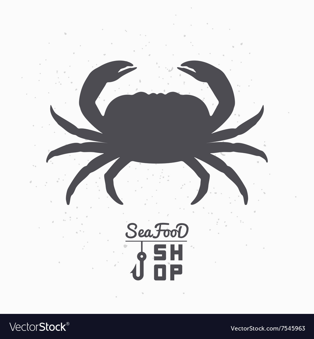 Crab Silhouette Seafood Shop Branding Template Vector Image