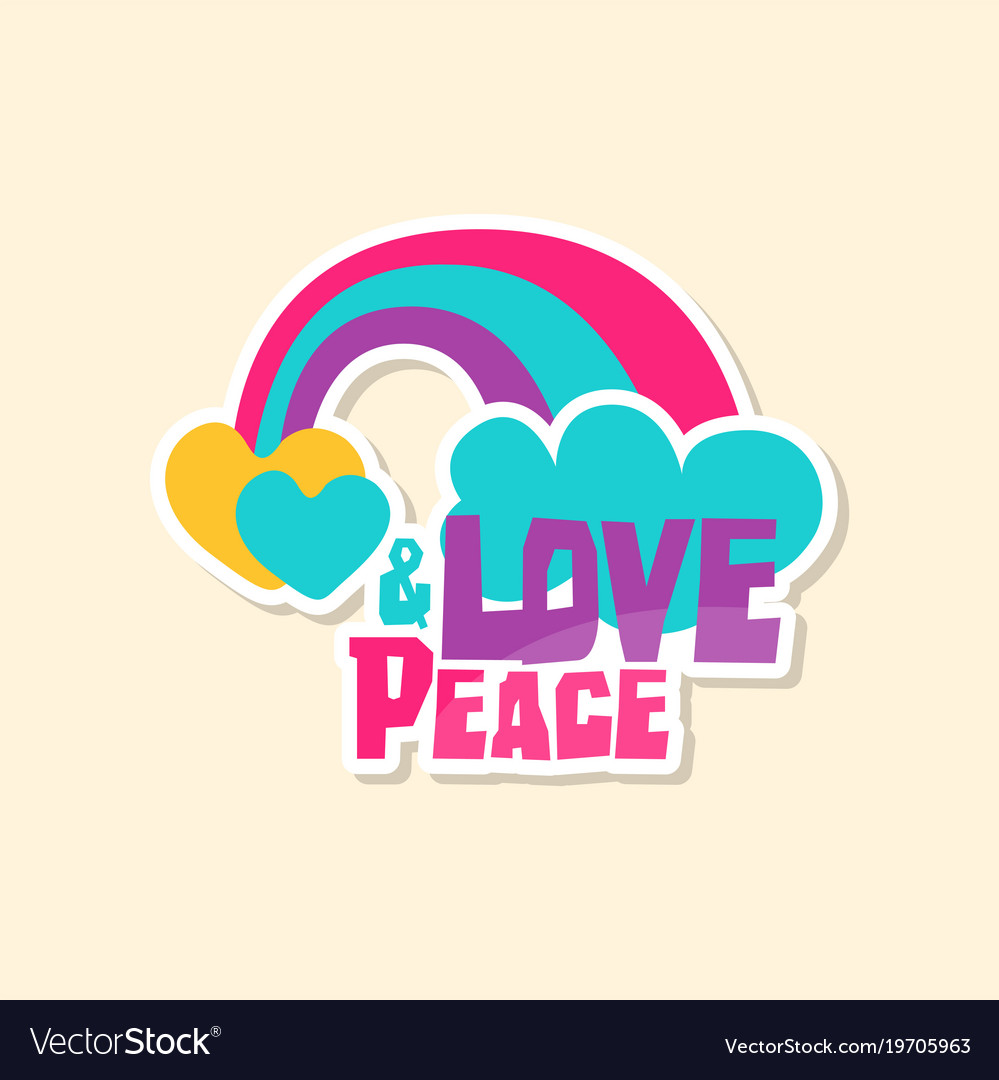 Creative text love peace with rainbow and cloud