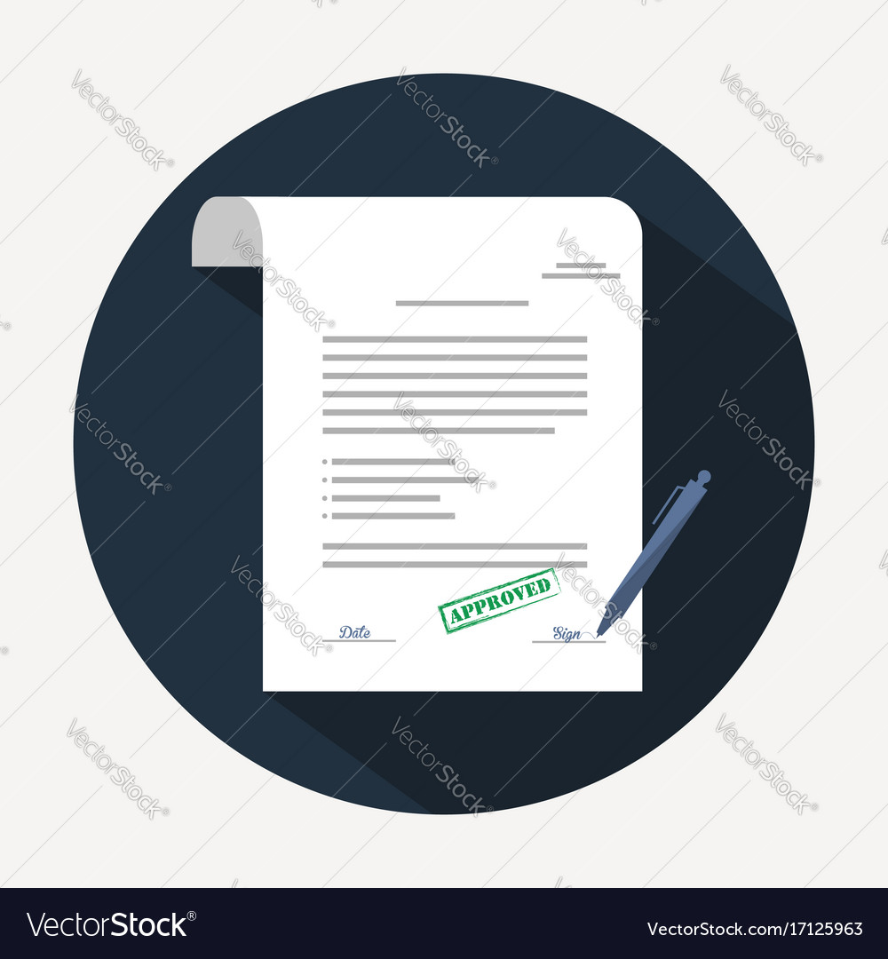 Document icon agreement contract in flat style