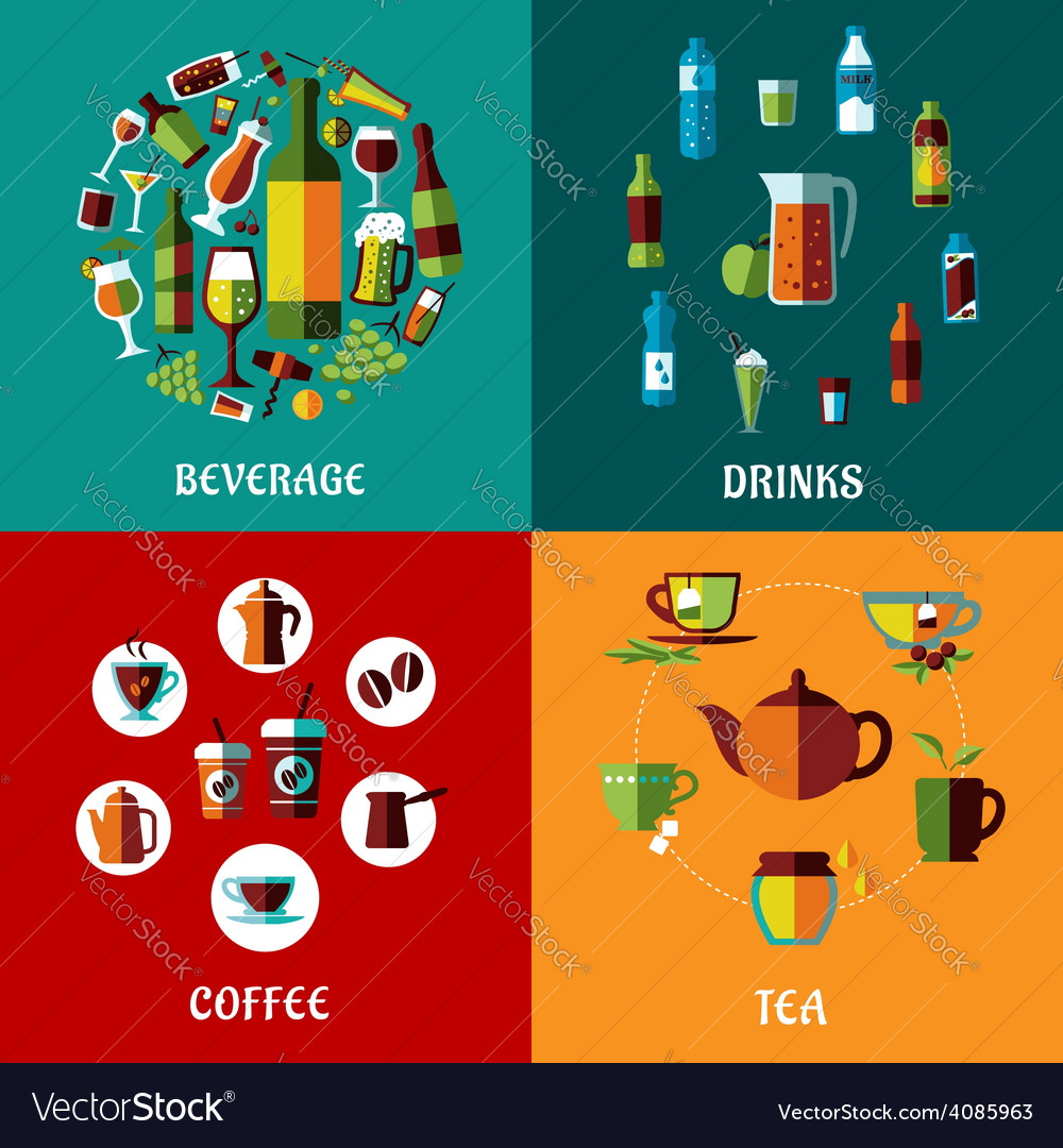 Drinks and beverages flat compositions