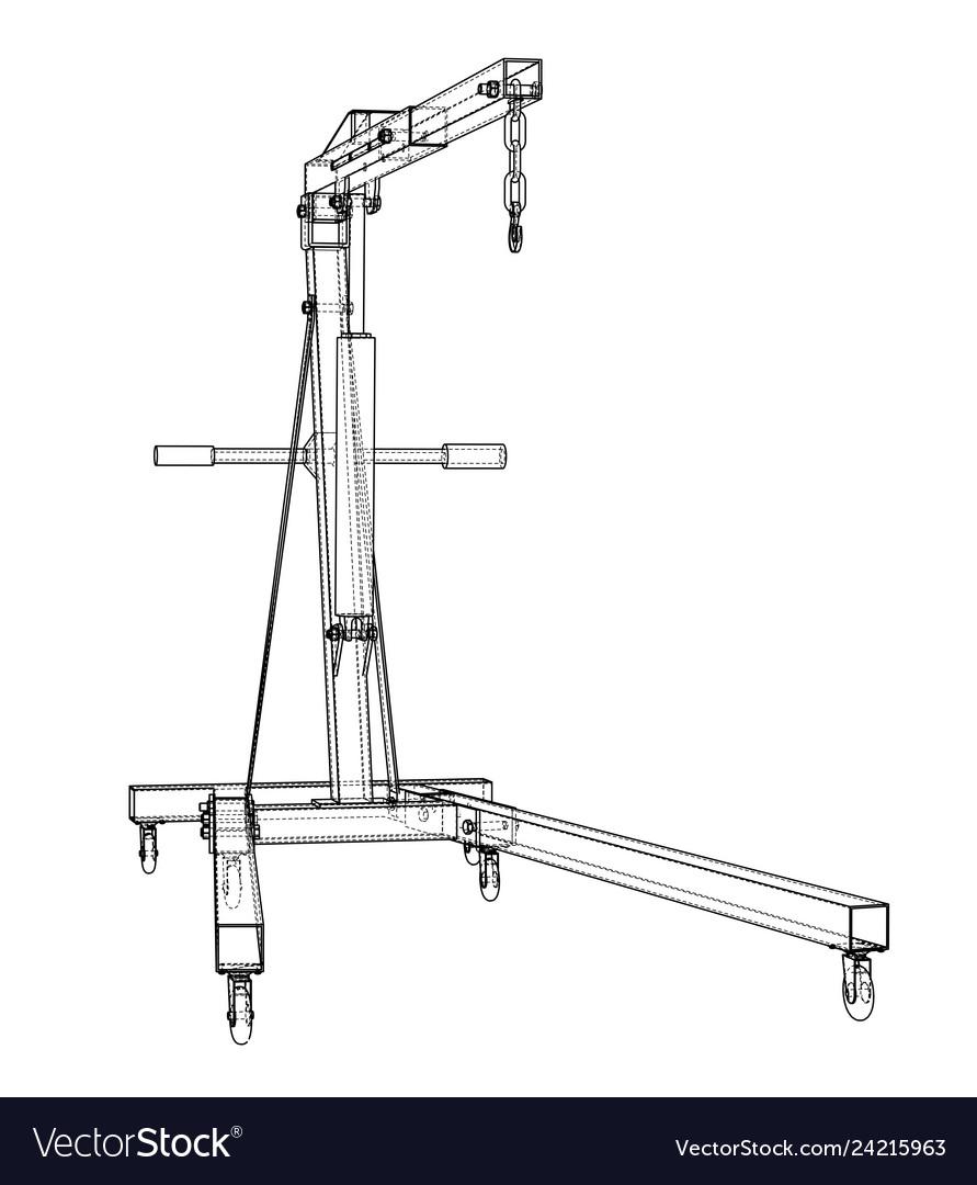 Engine hoist outline rendering of 3d Royalty Free VectorVectorStock