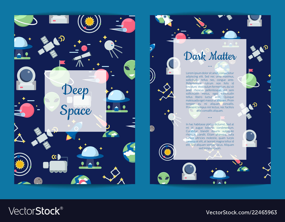 Flat space icons card or flyer