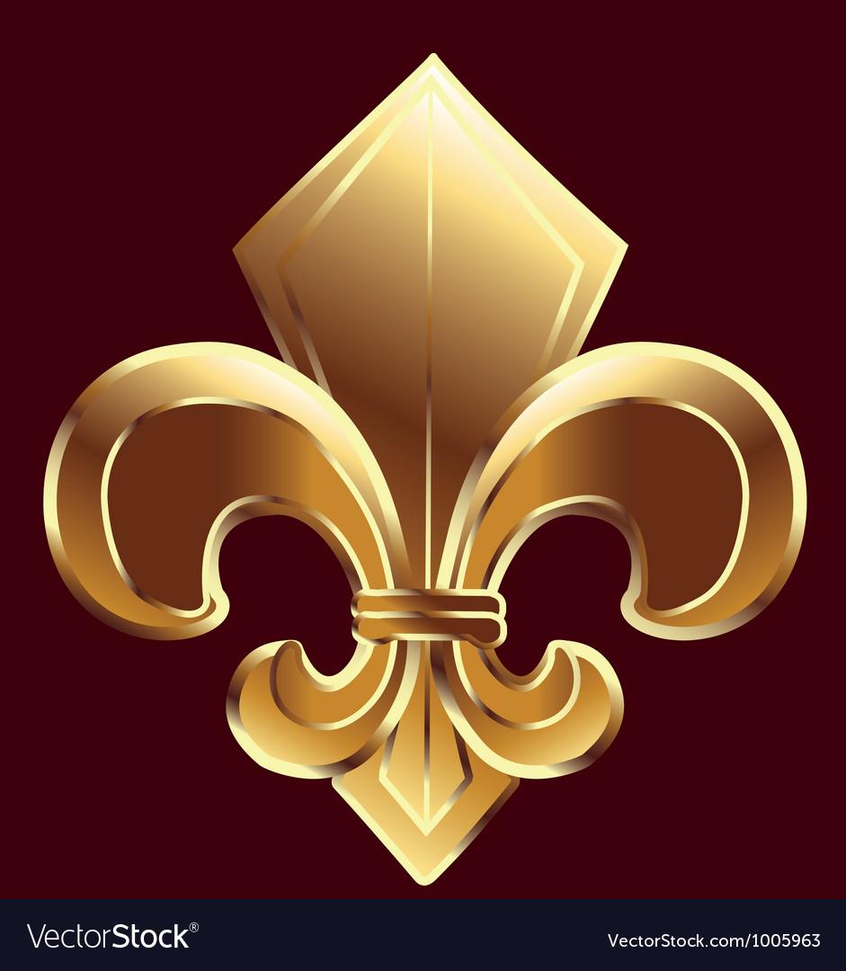 Gold Fleur De Lis Symbol Royalty Free Vector Image