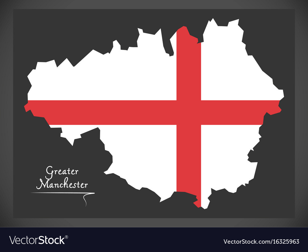 Greater manchester map england uk with english