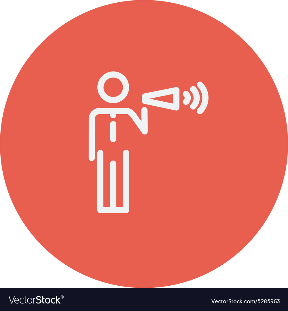 Man with megaphone thin line icon vector image