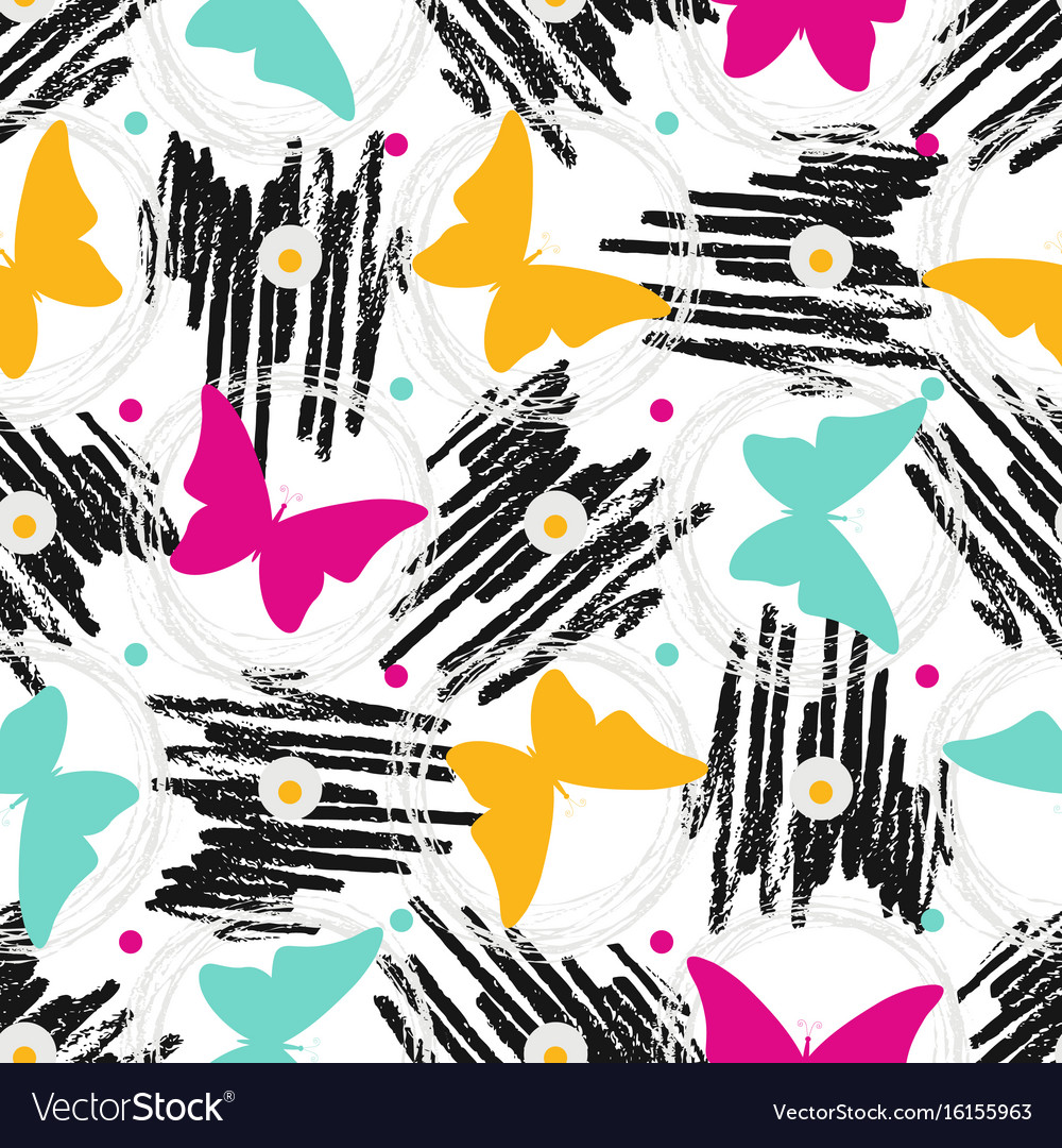 Seamless pattern with grunge textures and vector image