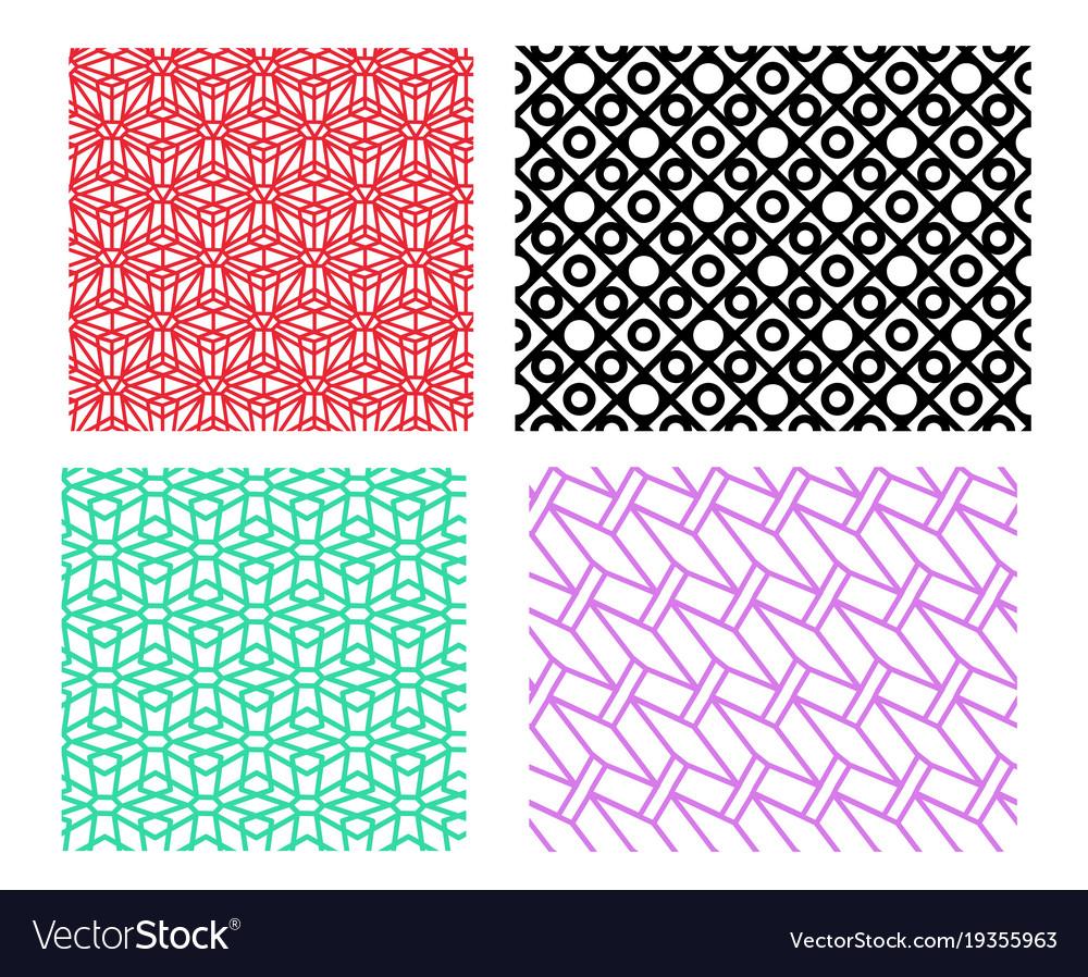 Set of geometric pattern in linear style