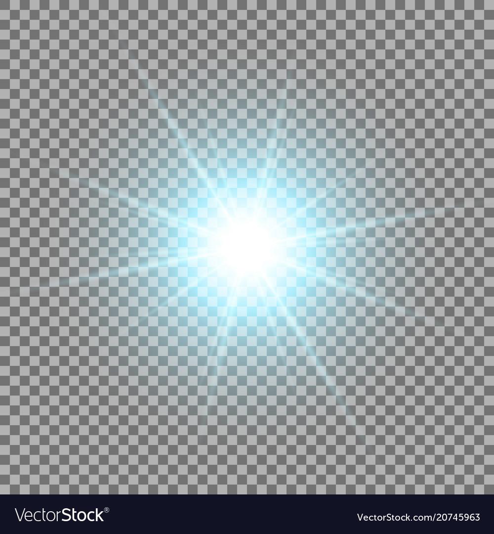 Shining star on transparent background aqua color