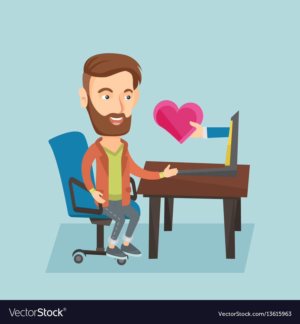 Young man dating online using laptop vector image