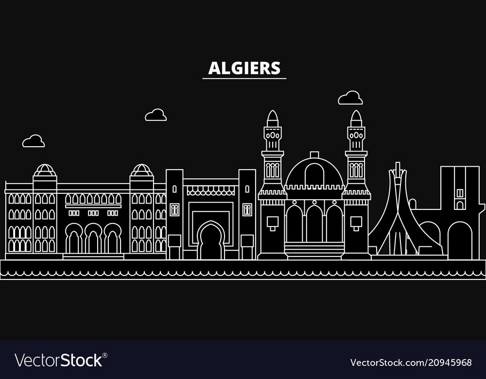 Algeria silhouette skyline algeria city