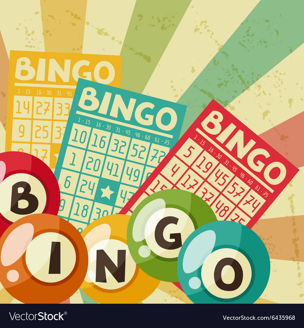Bingo or lottery retro game with vector image