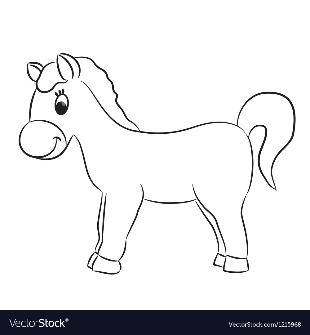 Cartoon horse for coloring vector image