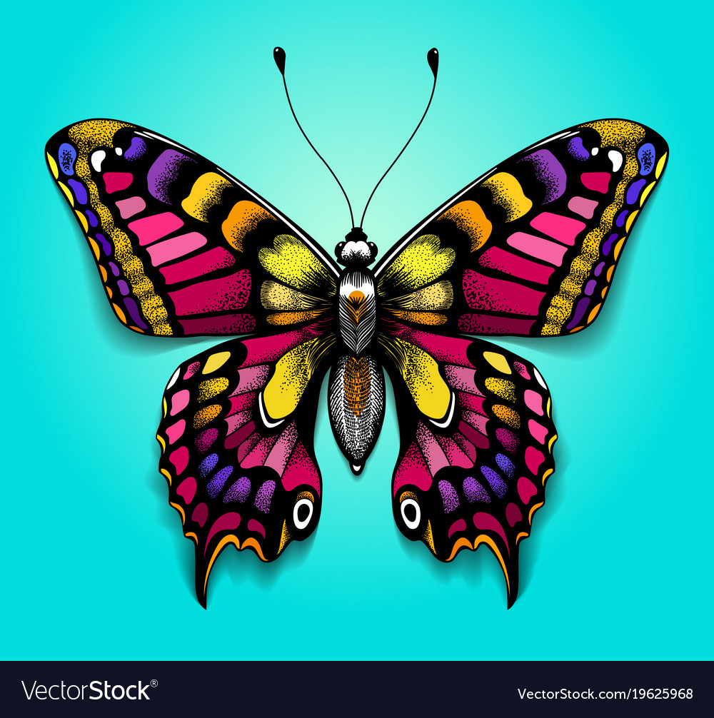 Colorful Butterfly Bright Tattoo For Your Back Vector Image