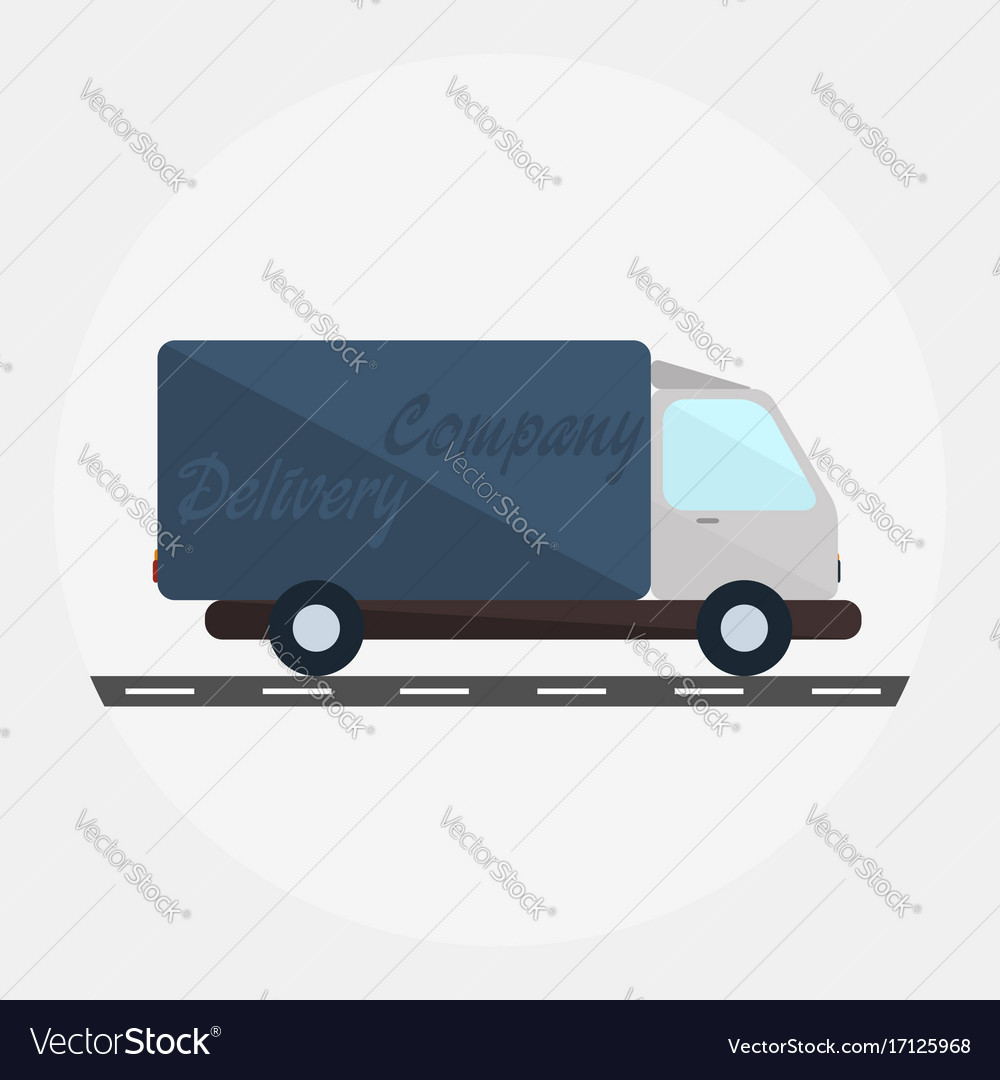 Delivery truck in flat style