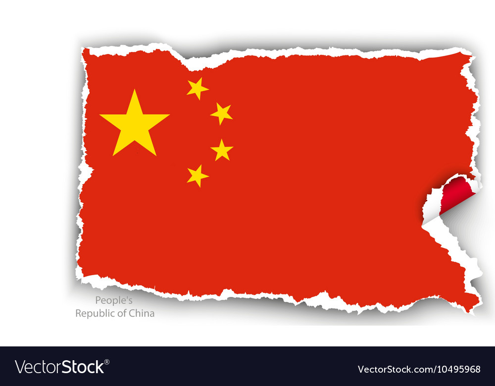 Design flag republic of china from torn papers