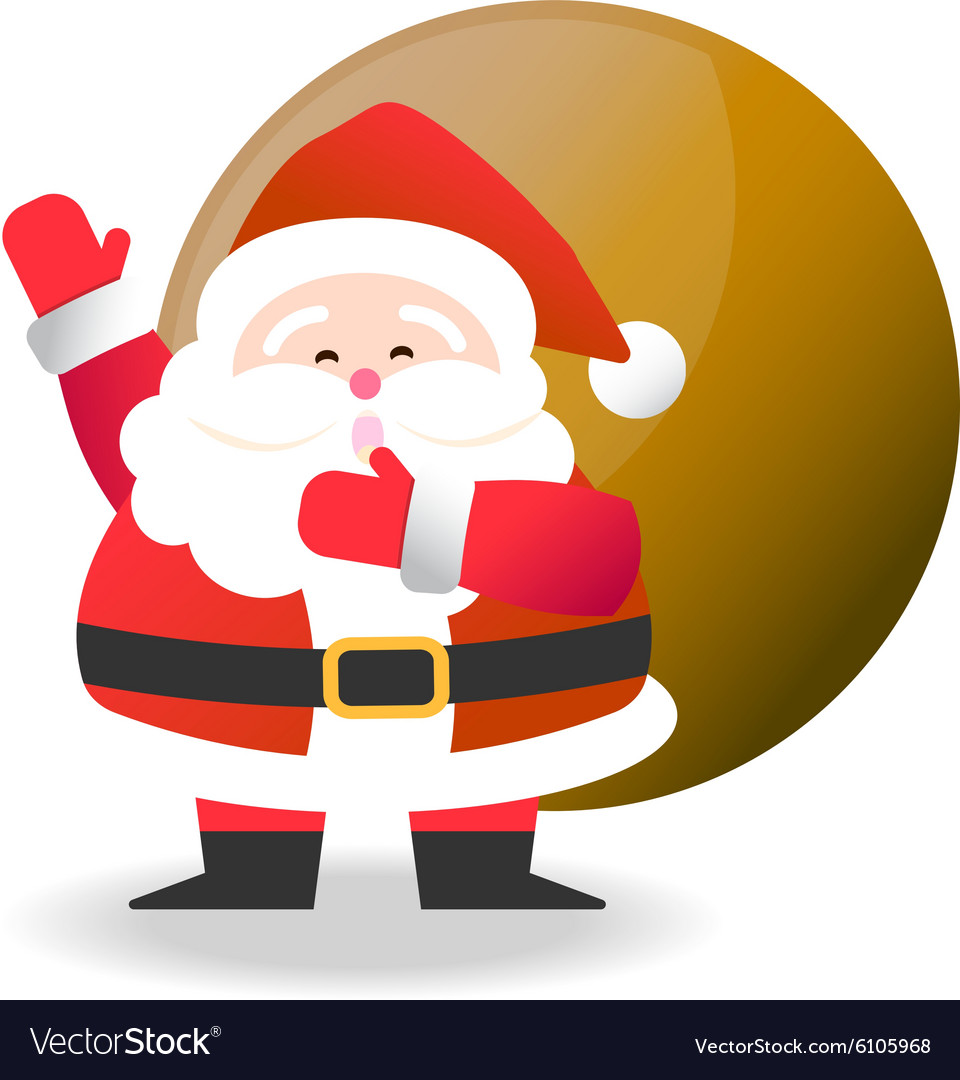 Happy Santa Claus with brown bag for Christmas cel vector image