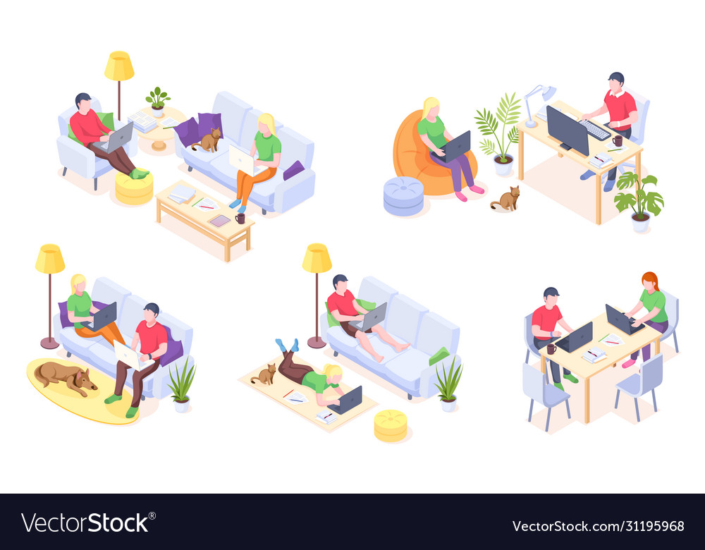 Online home work couple with laptops isometric