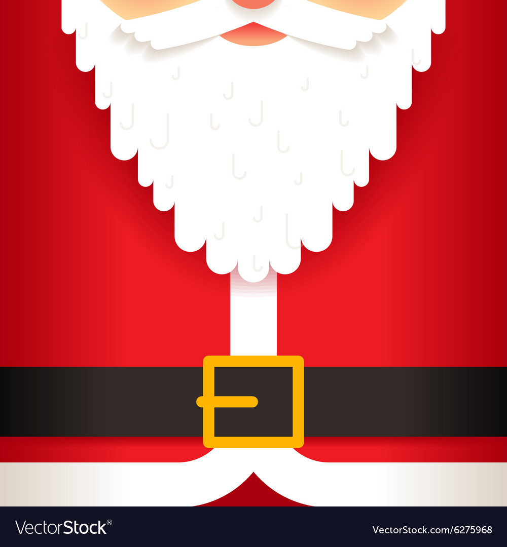 santa claus beard belt greating card template flat vector image