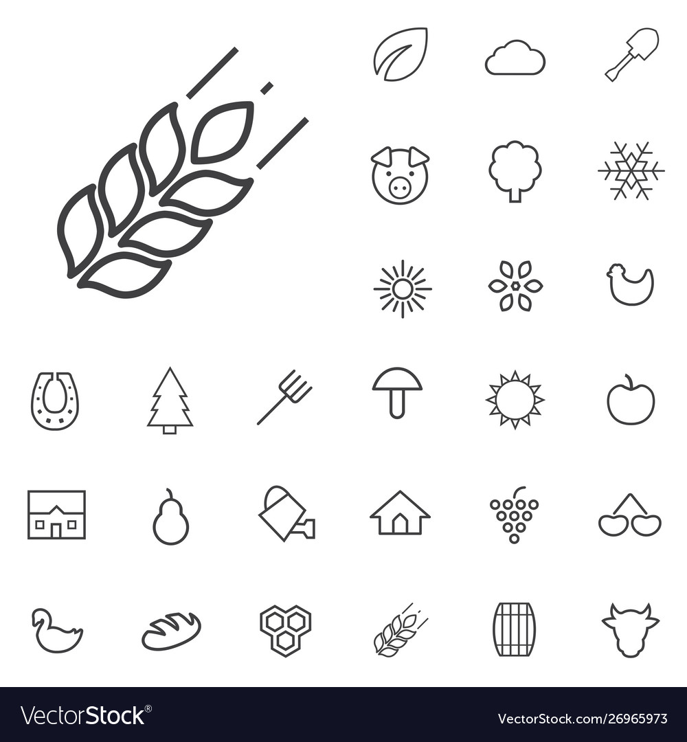 Agriculture outline thin flat digital icon set