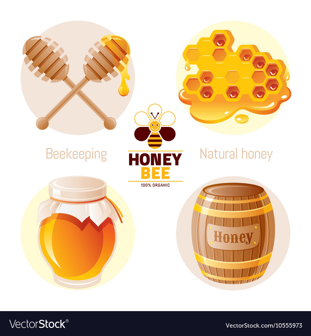 Bee honey icon set with cartoon flat icons