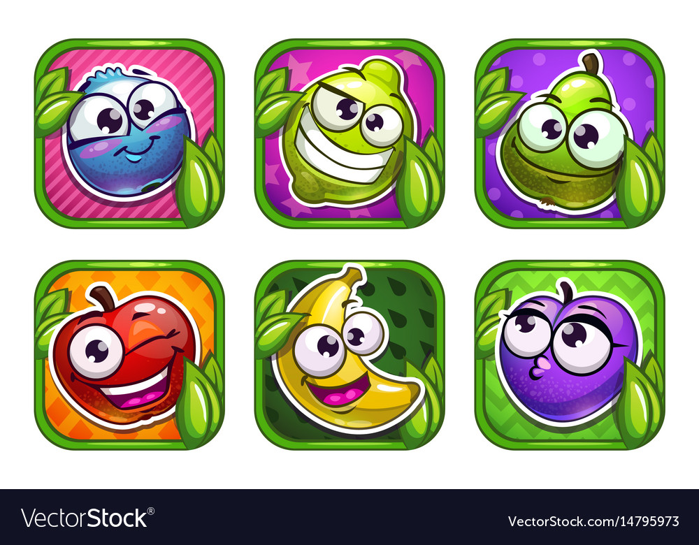 Bright cartoon app icons with funny fruits and