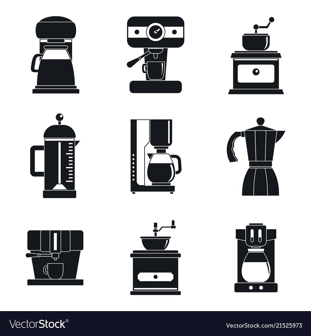 Coffee maker pot espresso icons set simple style
