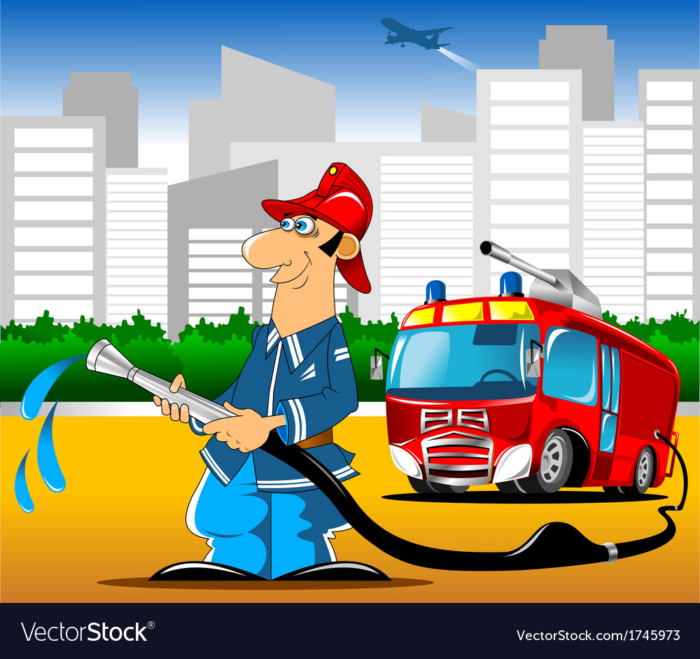 Fireman with hose vector image