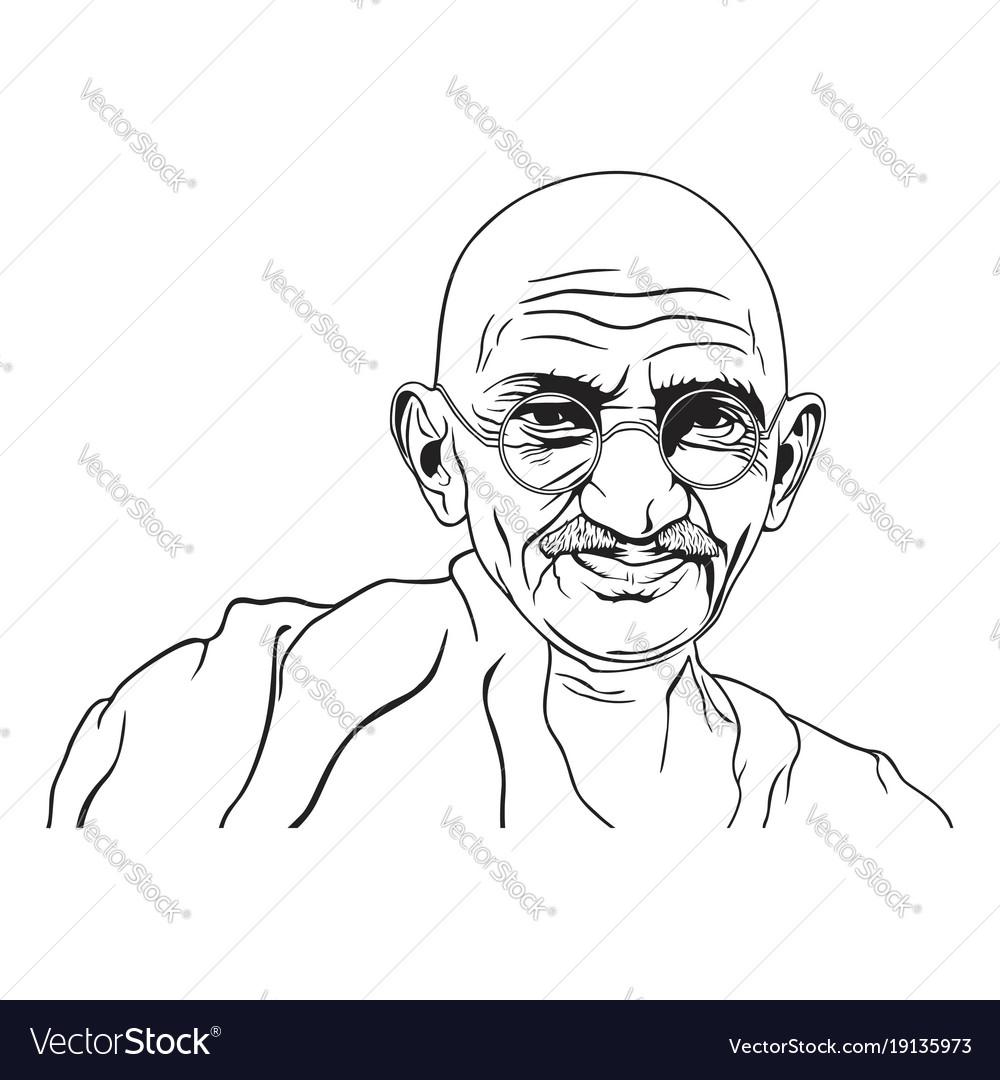 Mahatma gandhi portrait black white