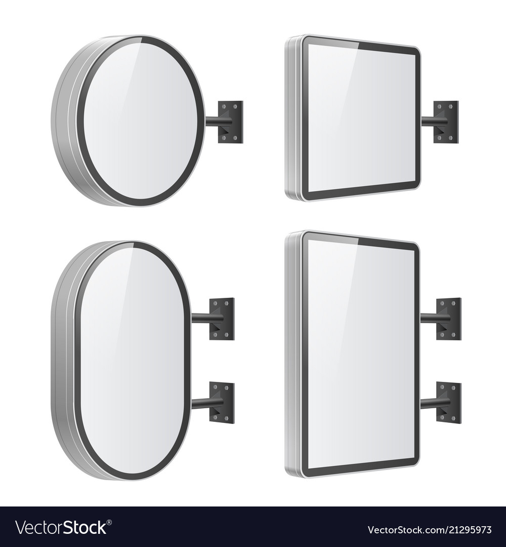 Set of realistic light boxes with wall mounts on a