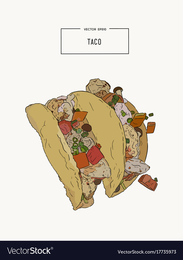 Set of tacoes mexican food hand draw sketch vector image