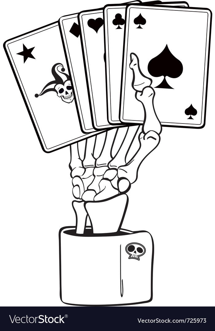 Skeleton Hand With Cards Royalty Free Vector Image