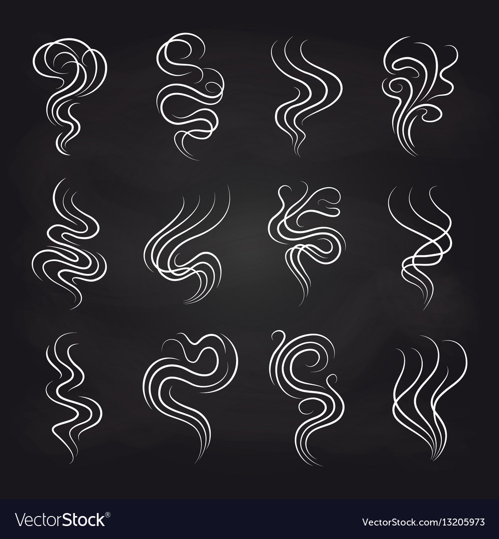 Smoke smell icons on blackboard vector image