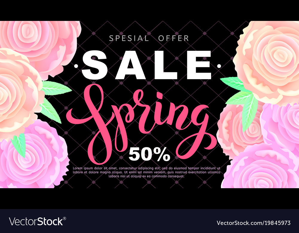 Spring sale banner with rose flowers on black