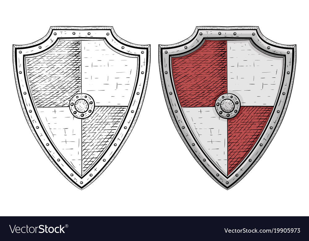 Viking Shields Hand Drawn Sketch Isolated On Vector Image
