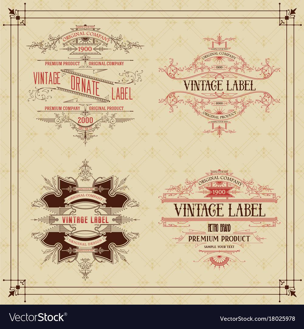4 vintage typographic label premium vector image