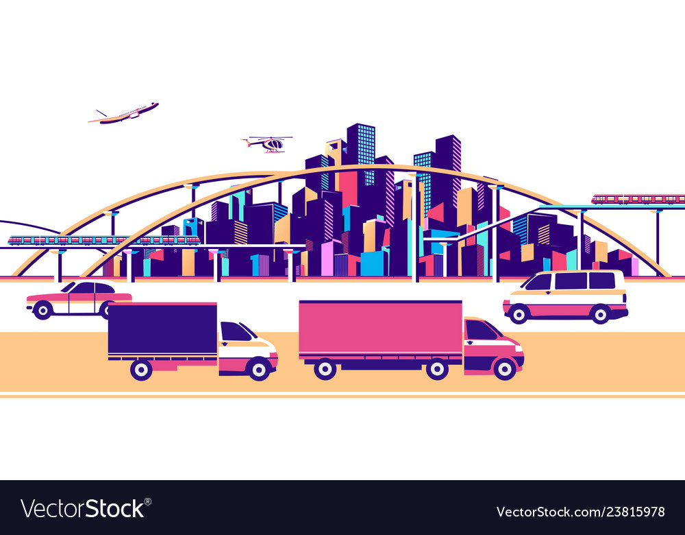 Banner urban landscape traffic