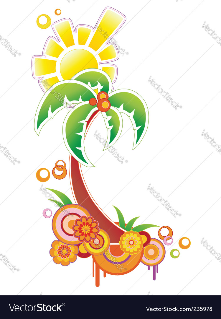 Colored background with palm vector image