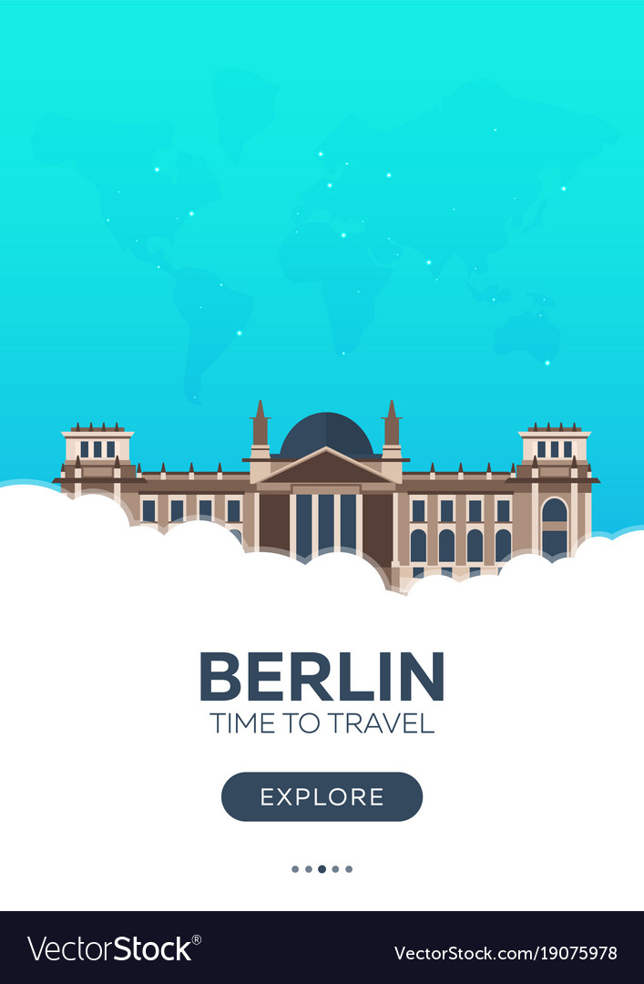 Germany berlin time to travel travel poster vector image