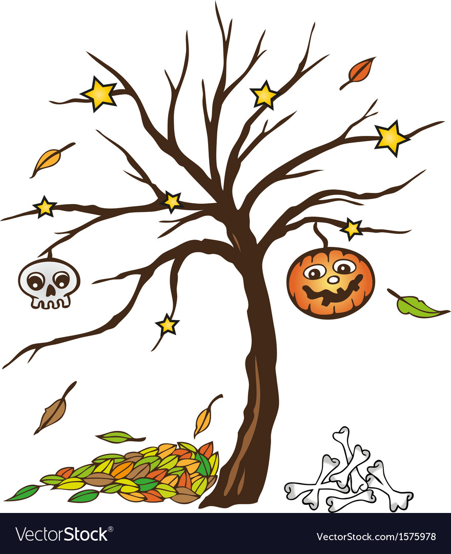 Halloween tree pumpkin skull vector